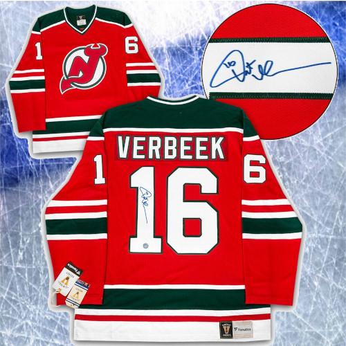 Pat Verbeek New Jersey Devils Signed Fanatics Vintage Hockey Jersey