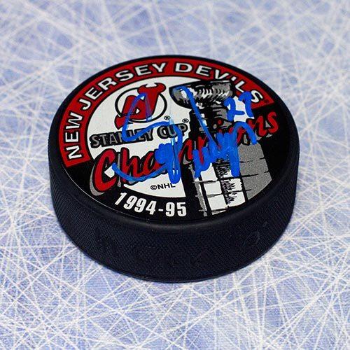 Scott Niedermayer Autographed Puck-NJ Devils 1995 Cup