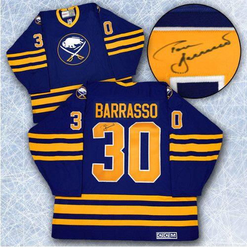 Tom Barrasso Buffalo Sabres Signed Vintage Hockey Jersey
