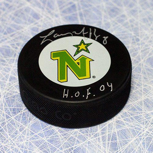 "Larry Murphy Minnesota North Stars Signed Hockey Puck with ""HOF"""