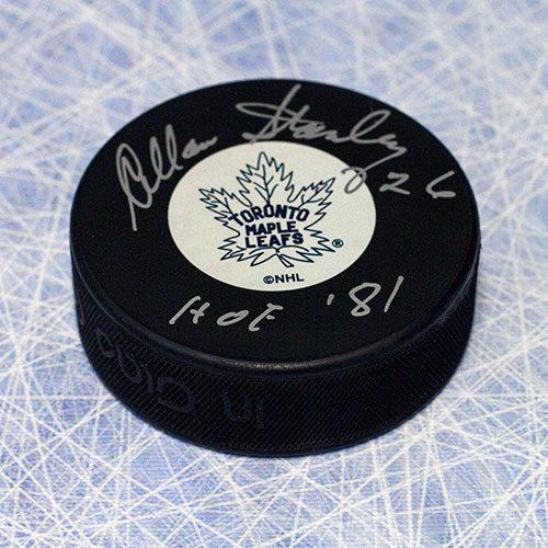 Allan Stanley Toronto Maple Leafs Signed Hockey Puck-HOF 81