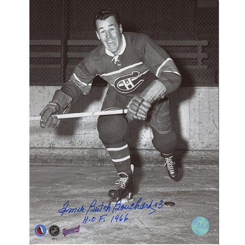Butch Bouchard Autographed Montreal Canadiens On Ice 8x10 Photo