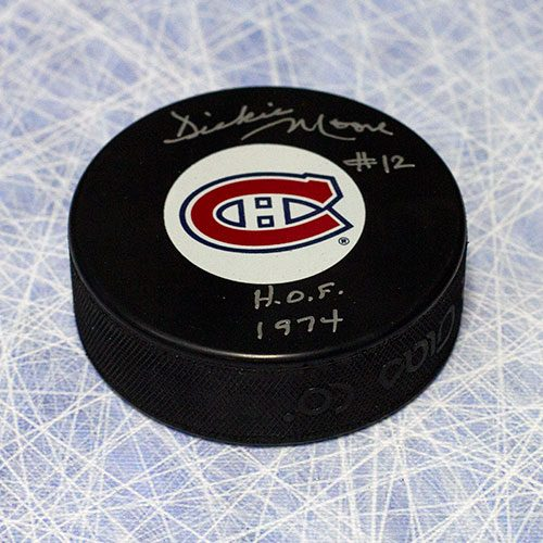 Dickie Moore Signed Puck-Montreal Canadiens with HOF Inscription