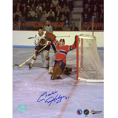 Charlie Hodge Montreal Canadiens Signed Photo-Goal Save vs Mikita 8x10