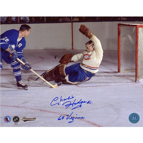 Charlie Hodge Signed Photo-Montreal Canadiens with 64 Vezina Note 8x10