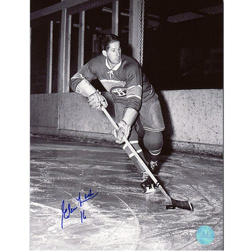 Elmer Lach Autographed Photo-Montreal Canadiens Playmaker 8x10