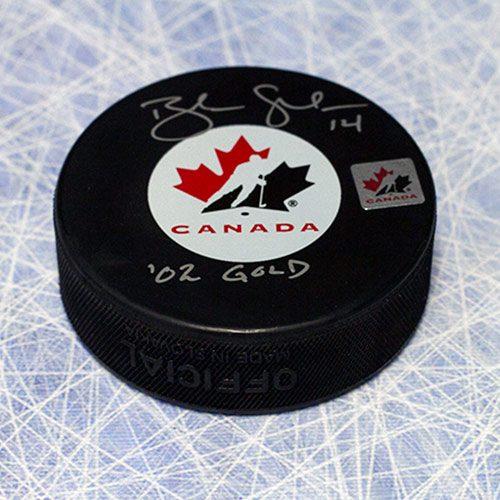 Brendan Shanahan Olympics Team Canada 2002 Gold Signed Hockey Puck