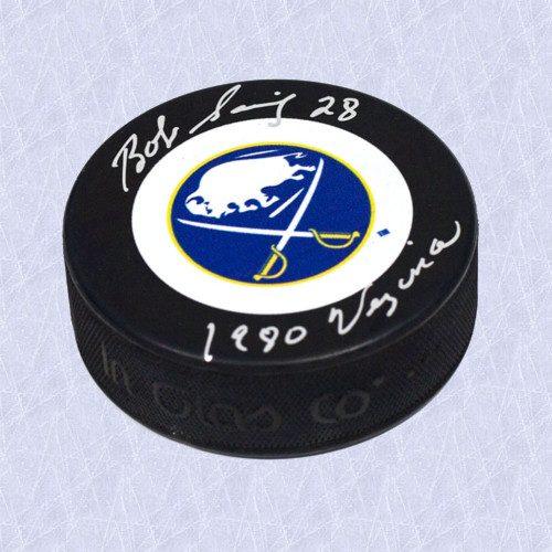 Bob Sauve Buffalo Sabres Autographed Hockey Puck w/ 1980 Vezina Note