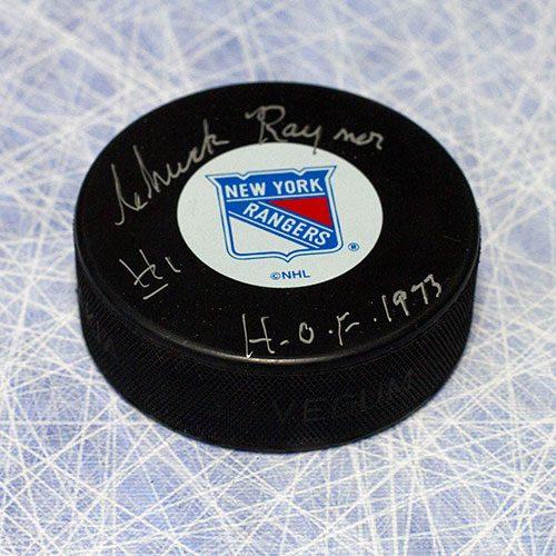 Chuck Rayner Autographed Hockey Puck New York Rangers w/ HOF Inscription