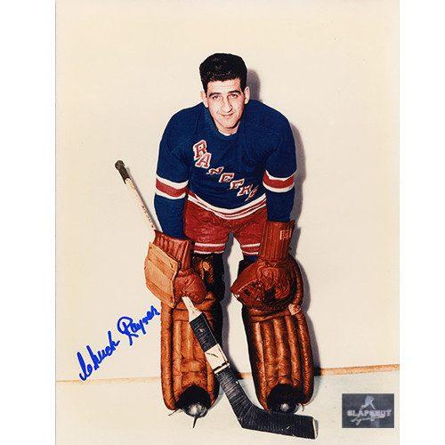 Chuck Rayner New York Rangers Autographed Color 8x10 Photo