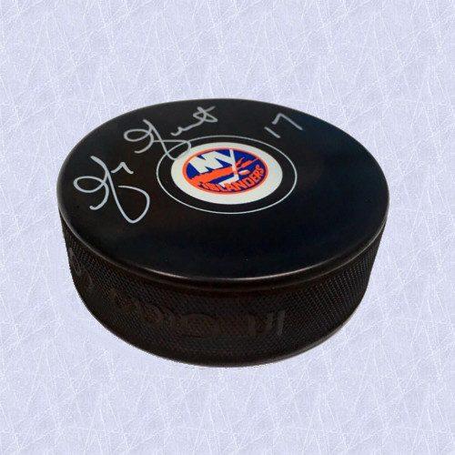 Greg Gilbert Autographed Hockey Puck-New York Islanders