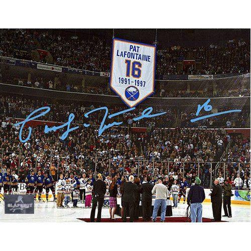 Pat LaFontaine Jersey Retirement Autographed Buffalo Sabres 8x10 Photo
