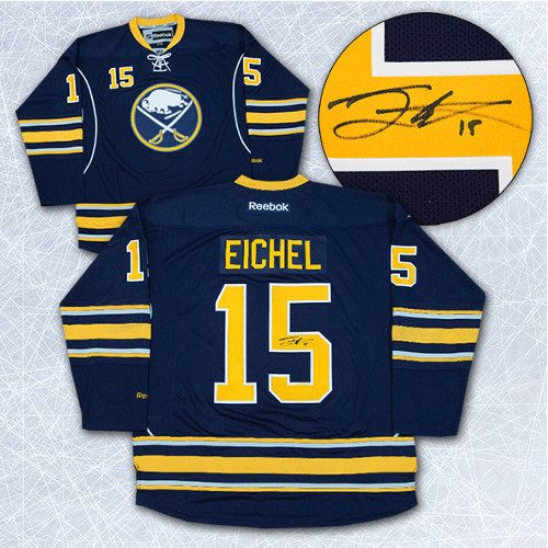 Jack Eichel Autographed Jersey-Buffalo Sabres Blue Reebok Premier Jersey