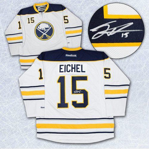 Jack Eichel Signed Jersey-Buffalo Sabres White Reebok Premier Jersey