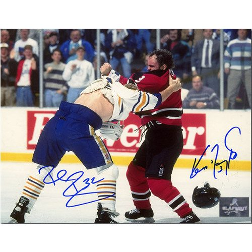 Rob Ray Ken Daneyko Dual Signed Sabres Devils Fight 8x10 Photo