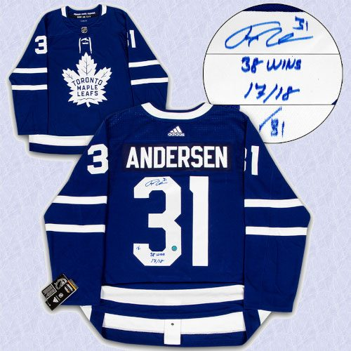 Frederik Andersen Toronto Maple Leafs Signed & Noted 2018 Wins Record Adidas Authentic Hockey Jersey LE #/31