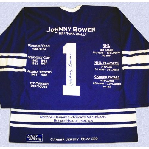 Johnny Bower Toronto Maple Leafs Autographed Career Stats Hockey Jersey LE/299