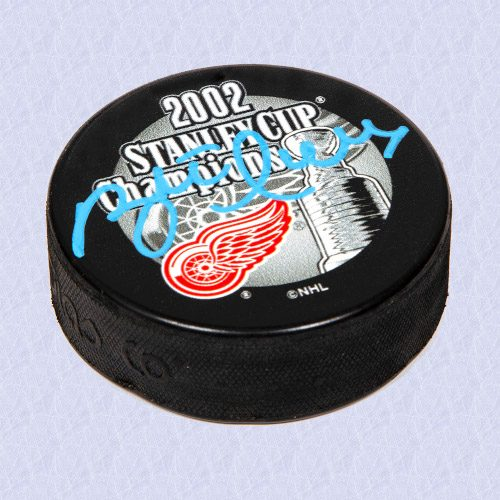 Brett Hull Detroit Red Wings Autographed 2002 Stanley Cup Champions Hockey Puck