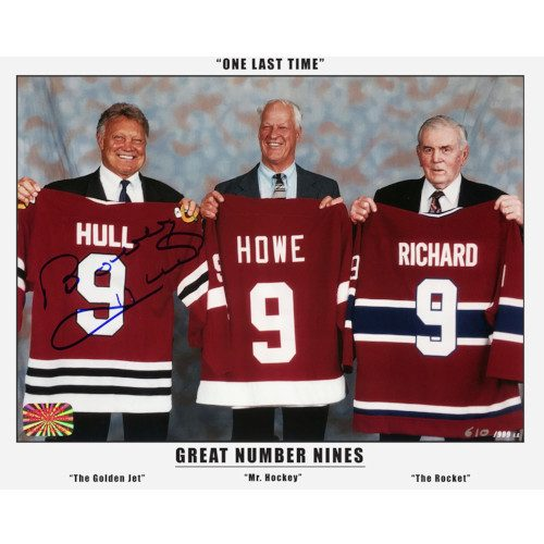 Bobby Hull Signed Great Jersey #9 with Gordie Howe & Maurice Richard 8x10 Photo