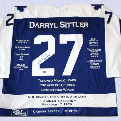 Darryl Sittler Toronto Maple Leafs Autographed Career Stats Hockey Jersey LE/199