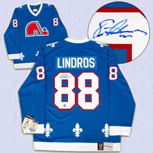 Eric Lindros Quebec Nordiques Autographed Fanatics Vintage Hockey Jersey