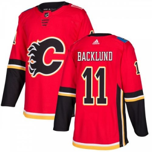 Mikael Backlund Calgary Flames Adidas Authentic Home NHL Hockey Jersey