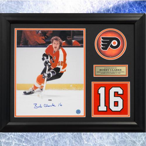 Bobby Clarke Framed Philadelphia Flyers Signed Retired Jersey Number 20x24