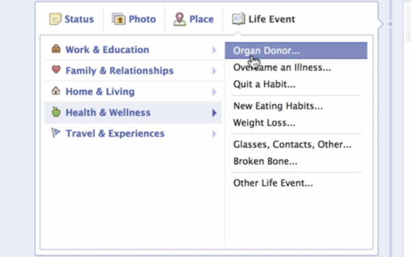 People can now become organ donors through Facebook
