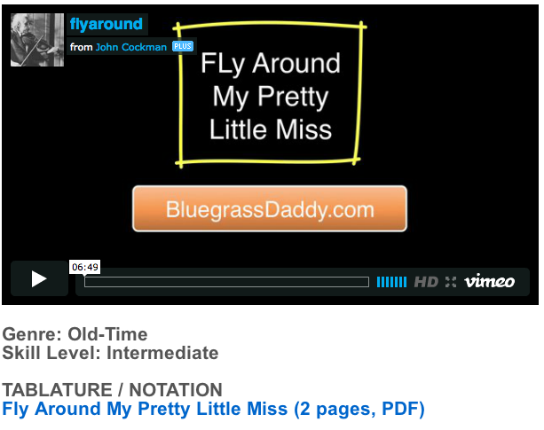 "This is an online fiddle lesson for the tune ""Fly Around My Pretty Little Miss."" BluegrassDaddy.com is your best source for Bluegrass, Old-Time, Celtic, Gospel, and Country fiddle lessons!"