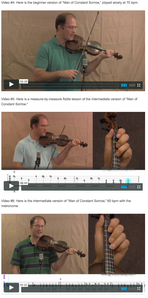 Man of Constant Sorrow - Online Fiddle Lessons. Celtic, Bluegrass, Old-Time, Gospel, and Country Fiddle.