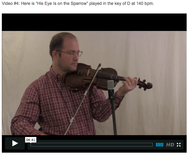 His Eye Is on the Sparrow - Online Fiddle Lessons. Celtic, Bluegrass, Old-Time, Gospel, and Country Fiddle.