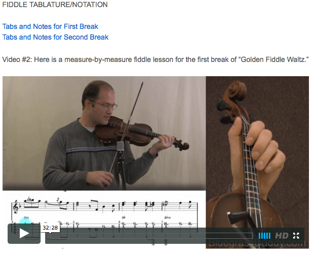 Golden Fiddle Waltz - Online Fiddle Lessons. Celtic, Bluegrass, Old-Time, Gospel, and Country Fiddle.