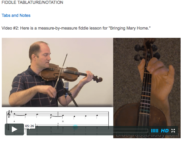 Bringing Mary Home - Online Fiddle Lessons. Celtic, Bluegrass, Old-Time, Gospel, and Country Fiddle.