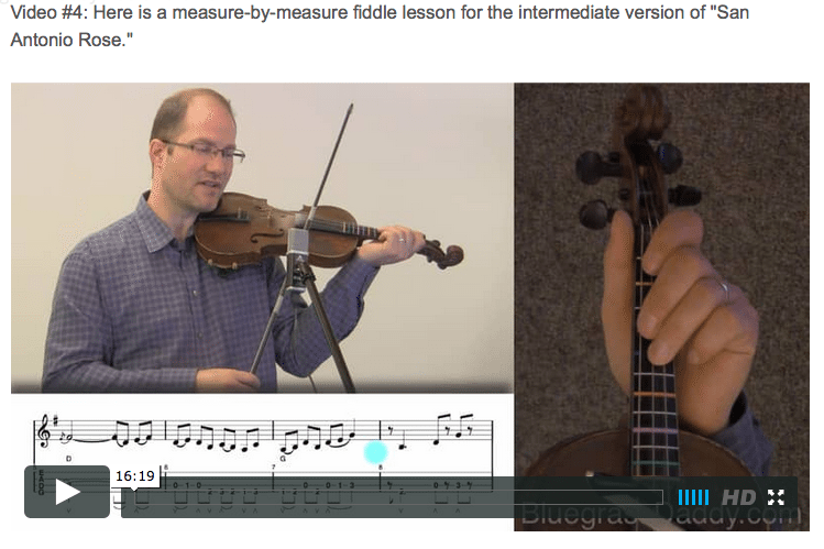 San Antonio Rose - Online Fiddle Lessons. Celtic, Bluegrass, Old-Time, Gospel, and Country Fiddle.
