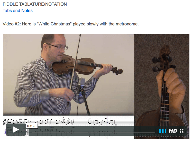 White Christmas - Online Fiddle Lessons. Celtic, Bluegrass, Old-Time, Gospel, and Country Fiddle.