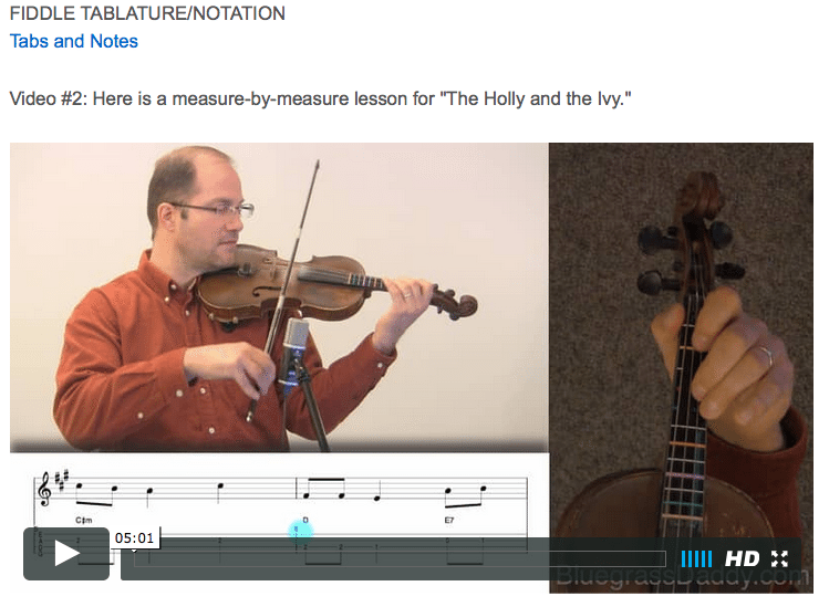 The Holly and the Ivy - Online Fiddle Lessons. Celtic, Bluegrass, Old-Time, Gospel, and Country Fiddle.