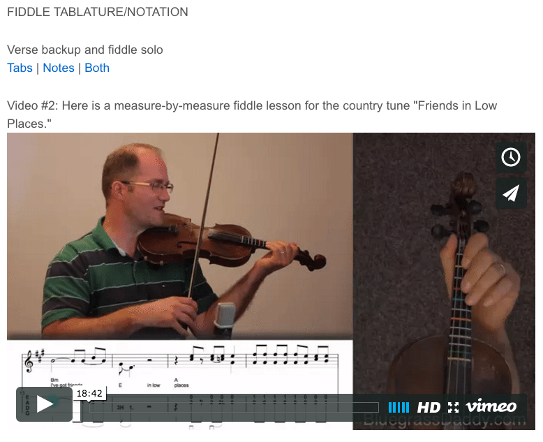 Friends in Low Places - online fiddle lessons