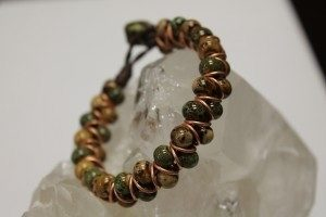 This baubles and rings bracelet can be made in classes at The Twisted Bead & Rock Shop.