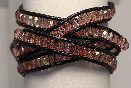 Leather wrap bracelet that can be made in a design class at The Twisted Bead & Rock Shop.