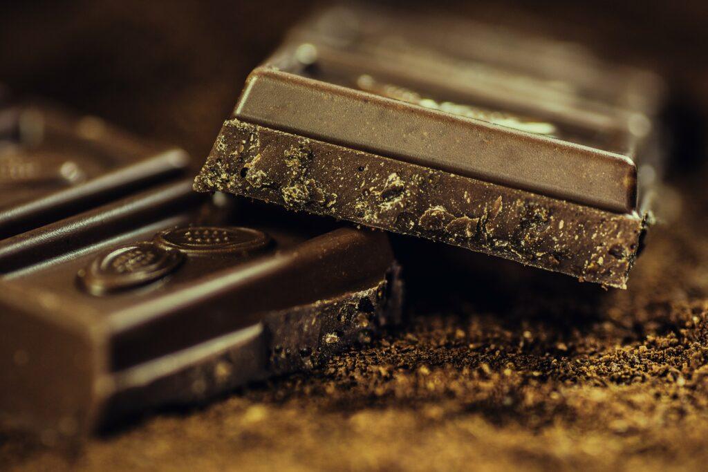 Squares of dark chocolate