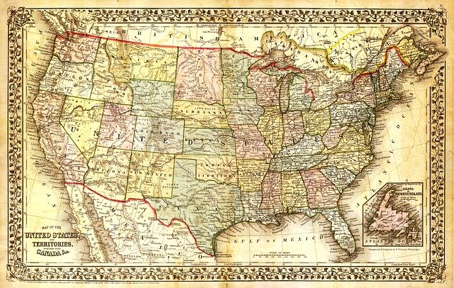An old map of the US, representing how we are all in this together.
