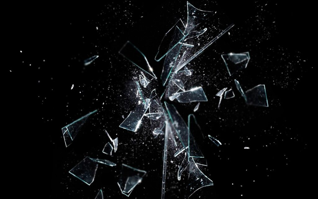 Broken glass showing shattered dreams