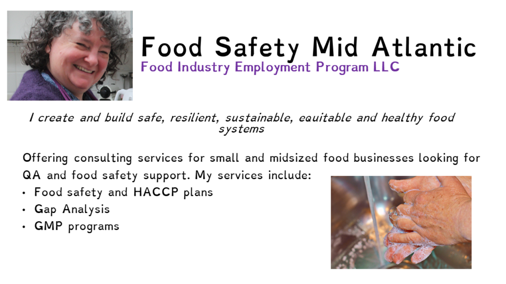 Food Safety Mid Atlantic. This image explains that I offer food safety services.