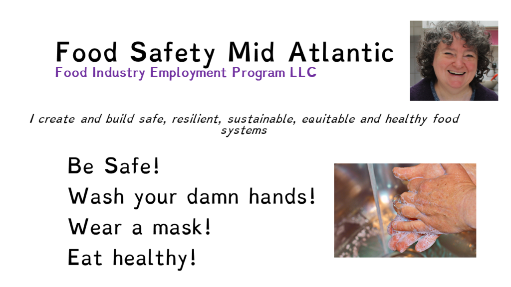 """Image saying """"Food Safety Mid Atlantic' """"Be safe!, Wash your damn hands, Wear a mask, Eat Healthy"""""""