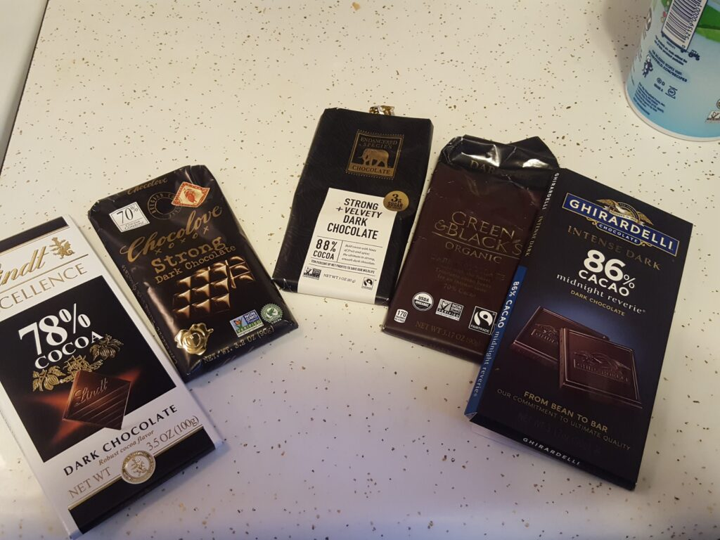 five packages from chocolate, showing the five varieties I used.