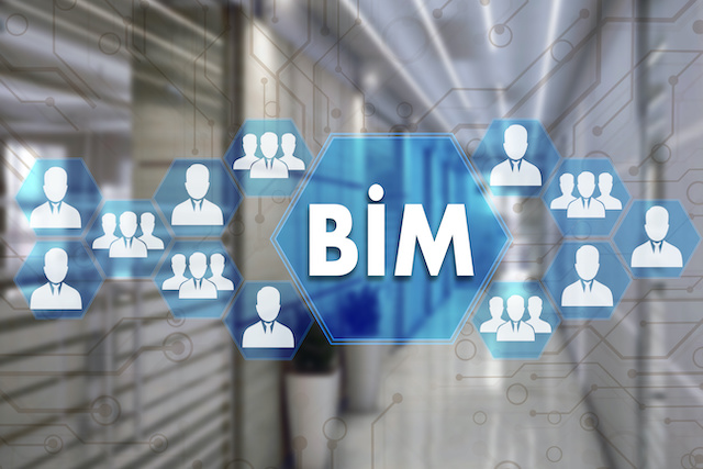 Building Information Modeling. BIM  on the touch screen with a blur background of the office.The concept of Building Information Model  BIM