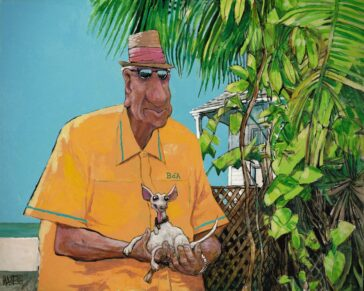 An old man holds a tiny chihuahua on a Key West beach. Establishes the tropical setting.