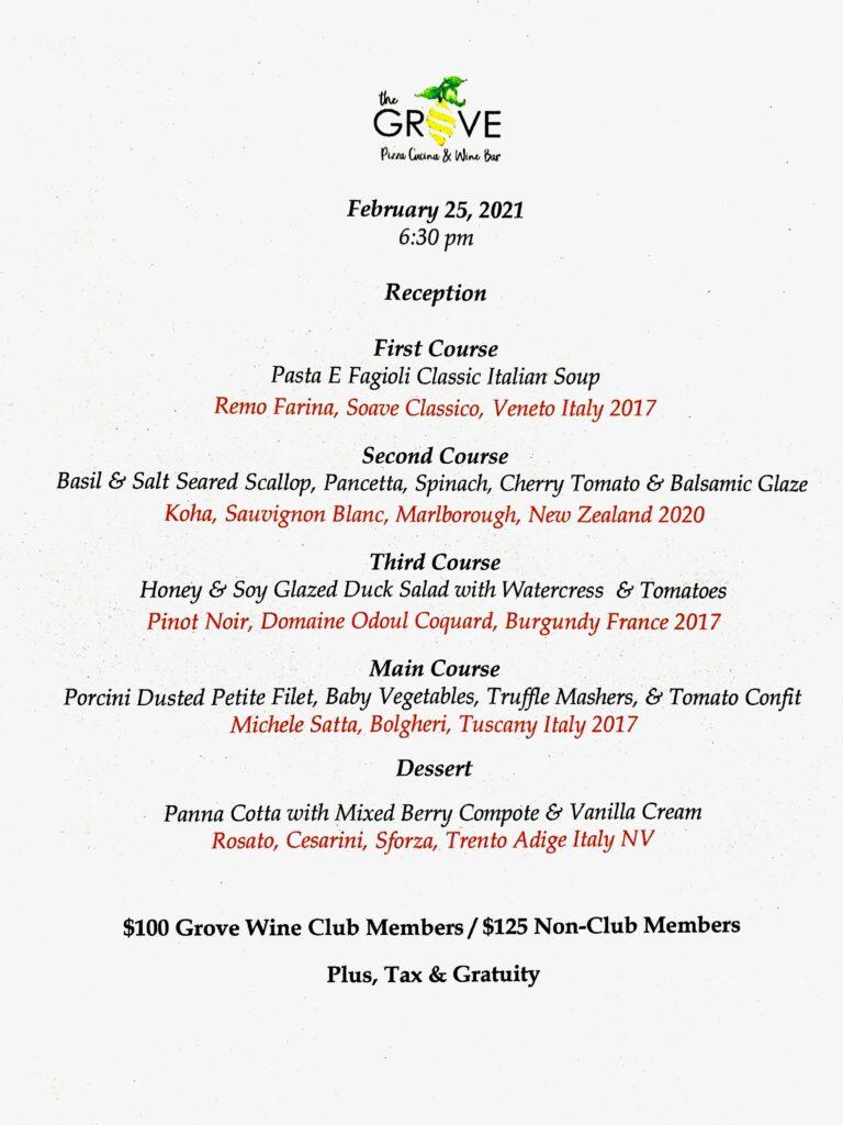 Wine dinner paired menu