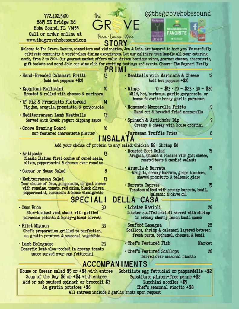 best restaurant in Martin County menu