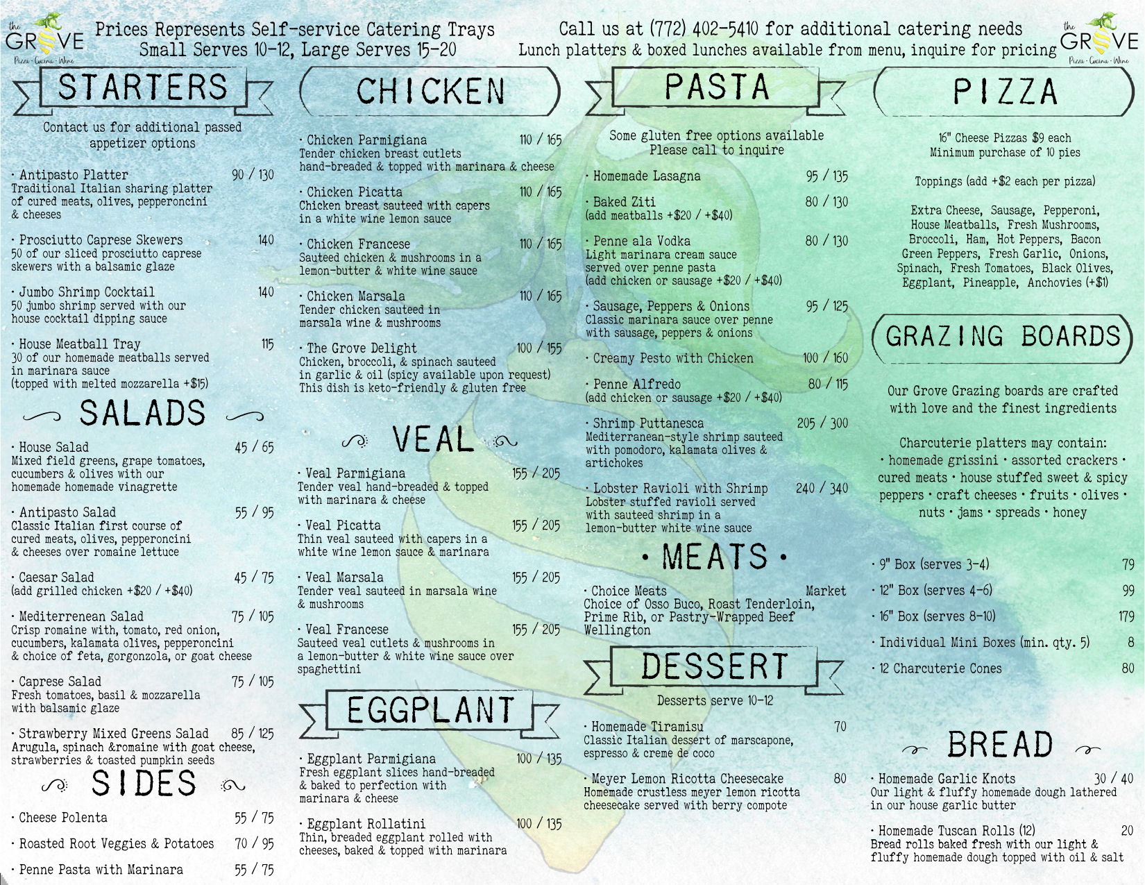 Grove Hobe Sound Treasure Coast catering menu